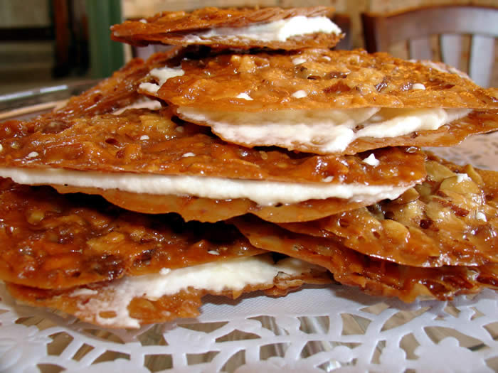 Almond Lace Florentines with Orange Cinnamon Buttercream-a favorite afternoon treat