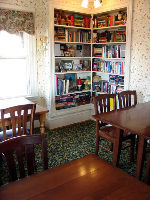 guests are welcome to use our casual dining room where there are books, games and music