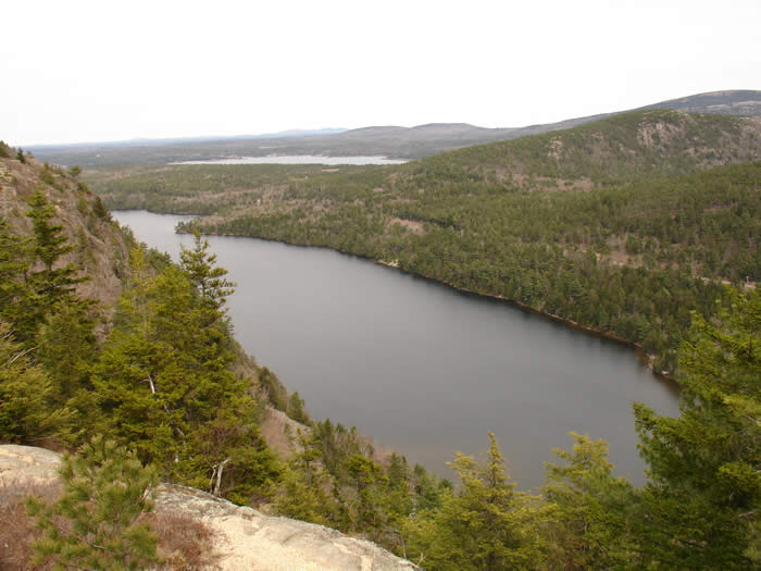 The view of Echo Lake from atop the Beech Cliff Ladder Hiking Trail, Acadia National Park