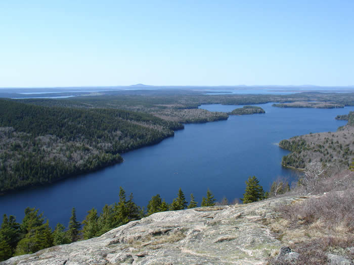 Long Pond from atop the fire tower on Beech Cliff Mountain, Acadia National Park Maine