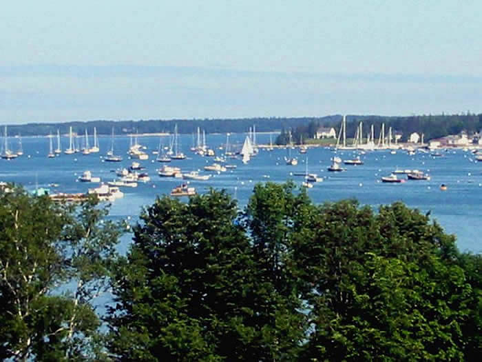 the view over the harbor from the turret in the suite of our Maine bed and breakfast